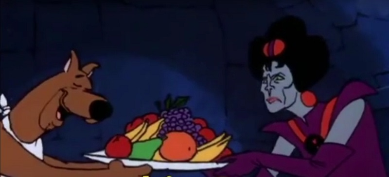 Black Widow passing Scooby a bowl of fruit