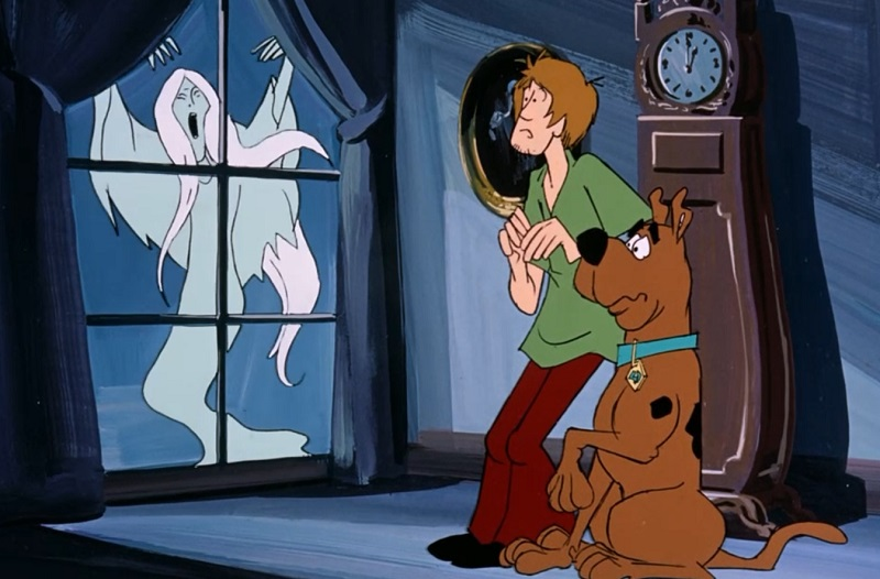 Scooby and Shaggy frightened by a ghost